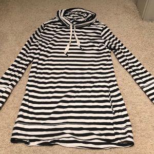 Striped cowl neck tunic